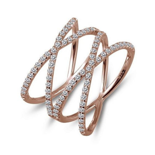 Simulated Diamond Rose Gold Plate Double Cross Ring R0172CLR