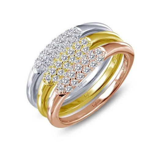 Simulated Diamond Tri-Color Stackable Rings R0165CLM