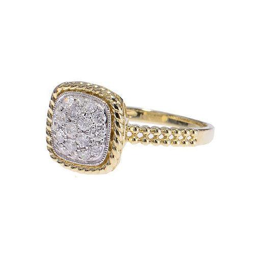 14kt Yellow Gold Square Cluster Diamond Ring