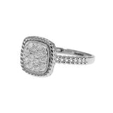 14kt White Gold Square Cluster Diamond Ring