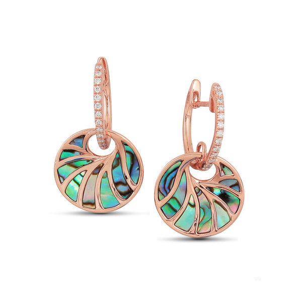 14kt Rose Gold Round Black Mother Of Pearl Diamond Earrings
