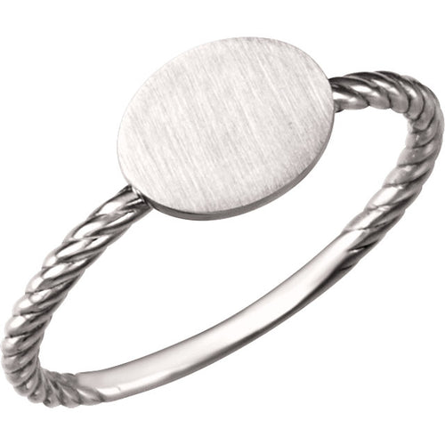 Oval Engravable Rope Ring