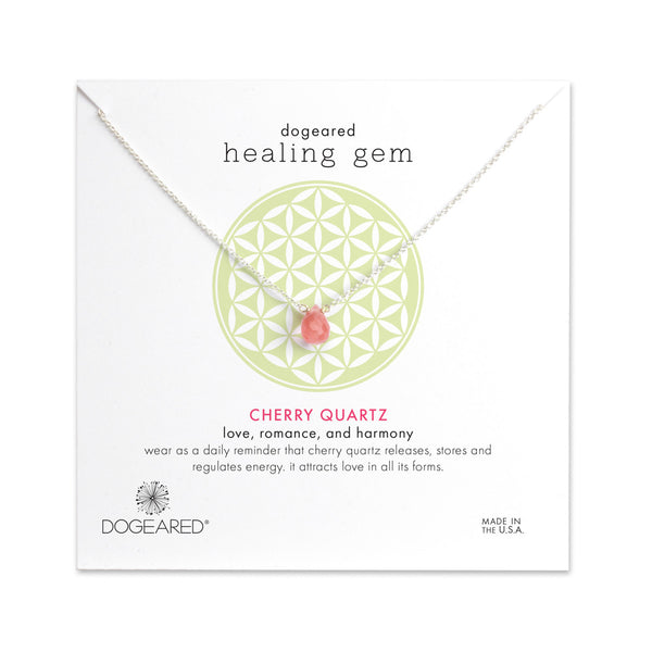 Healing Gem Cherry Quartz Necklace - Sterling Silver