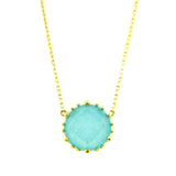 18kt Yellow Gold Round Turquoise Necklace