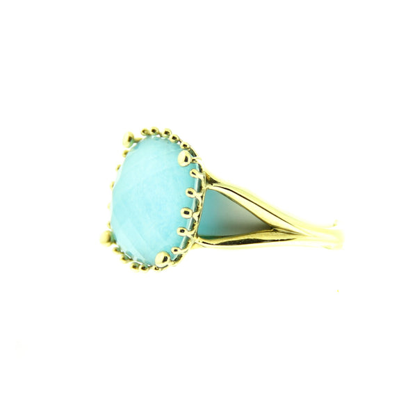 18kt Yellow Gold Cushion Cut Turquoise Ring