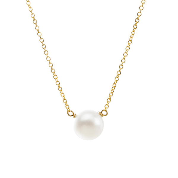 I Love Mom Large White Pearl Necklace - Gold Dipped