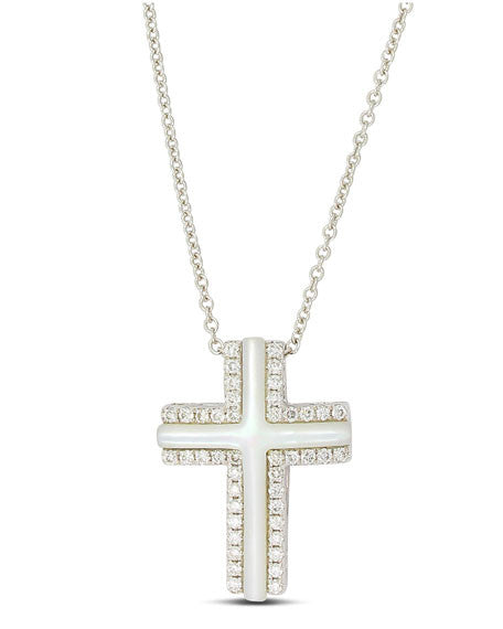 14kt White Gold Mother Of Pearl Diamond Cross Necklace