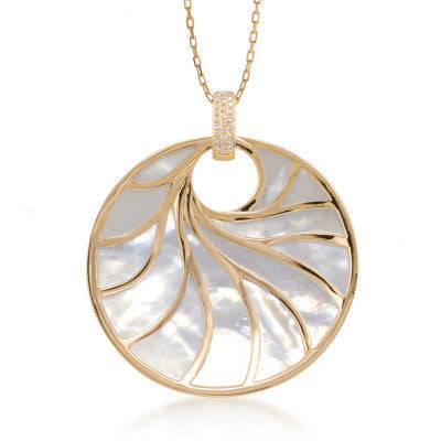14kt Rose Gold Large Round Mother Of Pearl Diamond Necklace