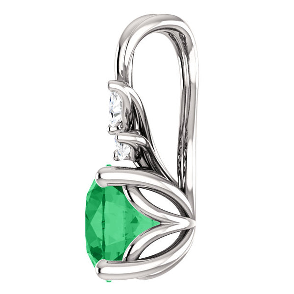 Emerald and Diamond Floral Pendant