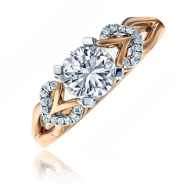 14kt Two Tone Rose Gold Diamond Flwr Top Ring