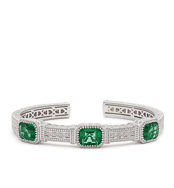 Estate Emerald Cut Green Quartz Three Stone Cuff