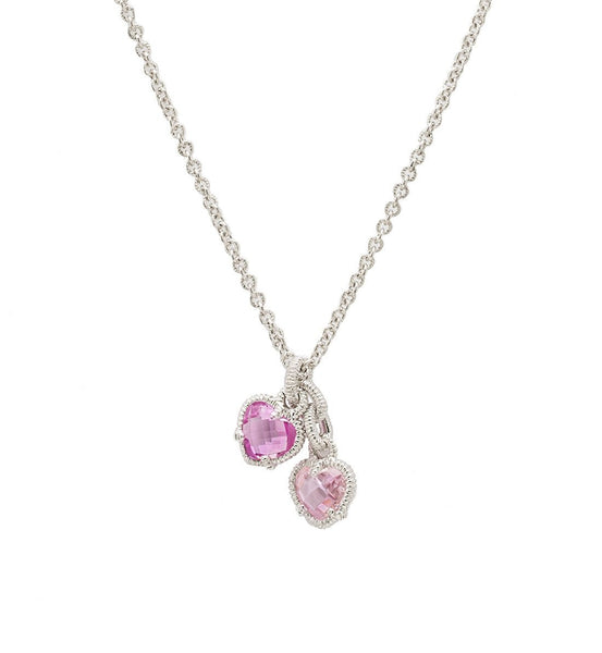 LA PETITE PINK CRYSTAL AND PINK CORUNDUM TWIN HEART NECKLACE