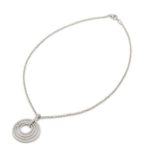 MERCER WHITE SAPPHIRE PAVE HOOP PENDANT NECKLACE