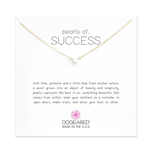 Pearls Of Success Small White Pearl Necklace - Gold Dipped