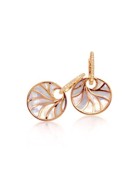 14kt Rose Gold Round Mother Of Pearl Diamond Earrings