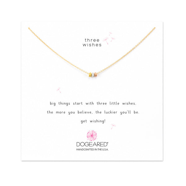 Three Wishes Necklace - Gold Dipped Chain