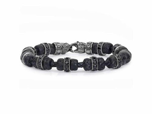 Woven Turks Knot Leather Bracelet with Black Spinel