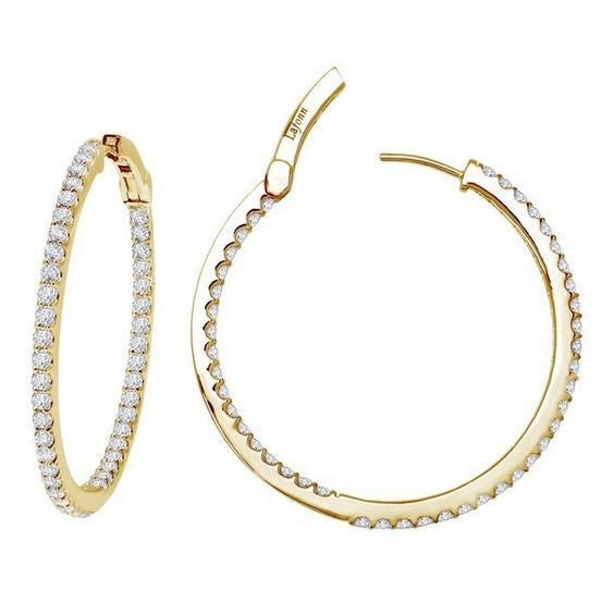 Simulated Diamond Gold Plate Open Hinged Hoop Earrings E3013CLG00