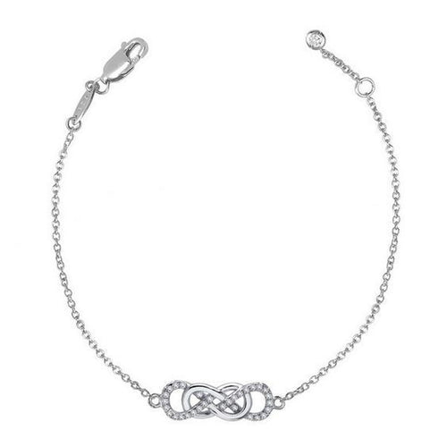 Simulated Diamond Sterling Silver Double Infinity Bracelet B2004CLP75