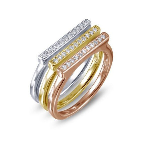 Sterling Silver Tri-Color Stackable Rings R0167CLM