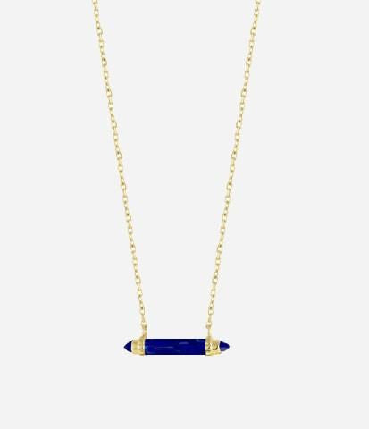 Lapis / Gold Plate Mini Bar Pendant Necklace