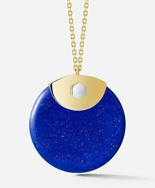 Yellow & White Silver / Lapis Circle Pendent Necklace