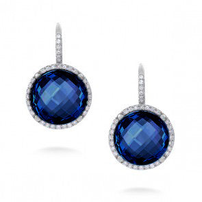 Round Faceted Blue Crystal Earrings with Diamonds in 14kt White Gold