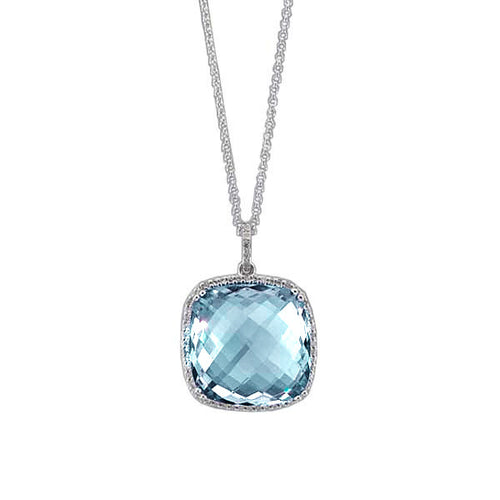 Blue Topaz Square Necklace with Diamonds in 14kt White Gold