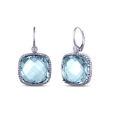 Blue Topaz Square Earrings with Diamonds in 14kt White Gold