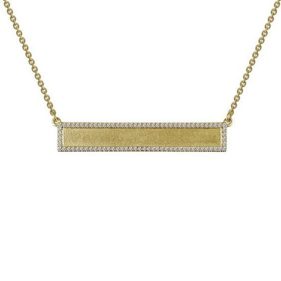 Matt Gold Plate Engravable Bar Necklace N0053CLG18