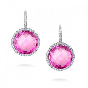 Round Faceted Pink Crystal Earrings with Diamonds in 14kt White Gold
