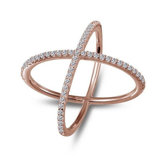 Simulated Diamond Rose Gold Plate Cross Ring R0171CLR SIZE 6