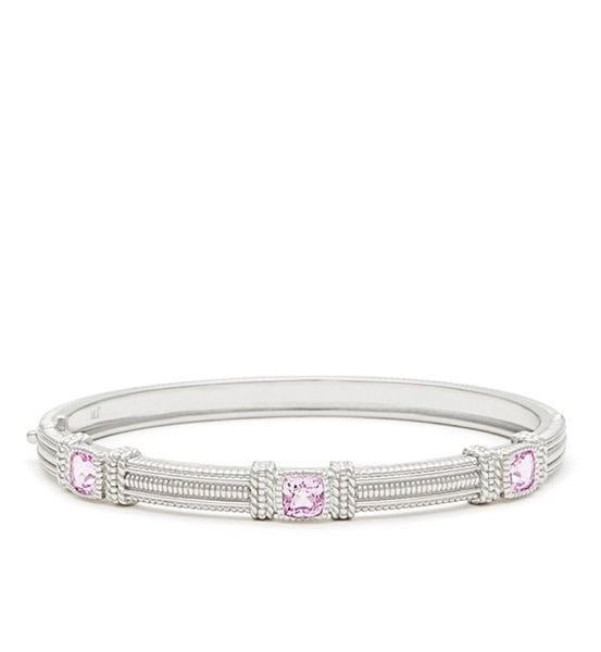 La Petite Cushion Cut Pink Corundum Three Stone Bangle