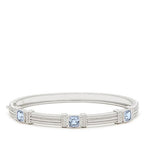 La Petite Cushion Cut Blue Quartz Three Stone Bangle