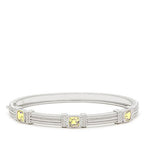 La Petite Cushion Cut Canary Crystal Three Stone Bangle