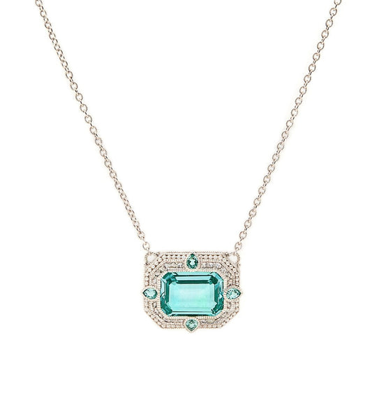 Aria Paraiba Spinel East West Pendant Necklace