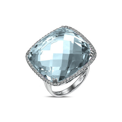 Blue Topaz Square Ring with Diamonds in 14kt White Gold