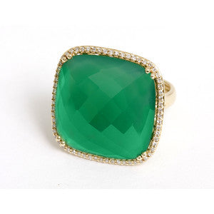 14kt Yellow Gold Square Green Onyx Diamond Ring