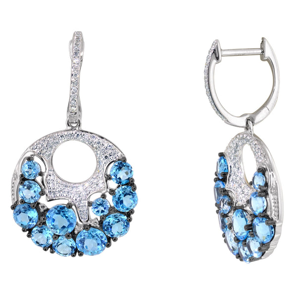 Blue Topaz Earrings in 14kt White Gold with Diamonds