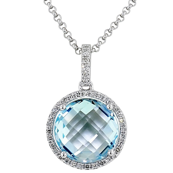 Round Faceted Blue Topaz Necklace with Diamonds in 14kt White Gold