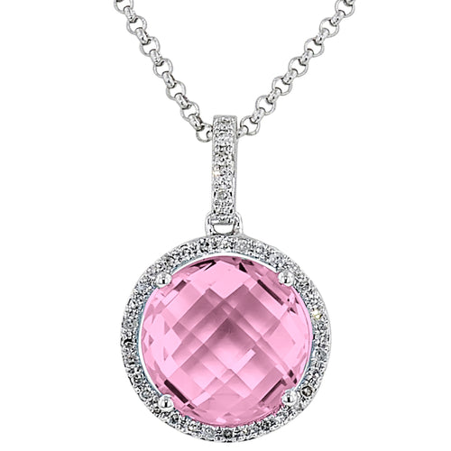 Round Faceted Pink Crystal Necklace with Diamonds in 14kt White Gold
