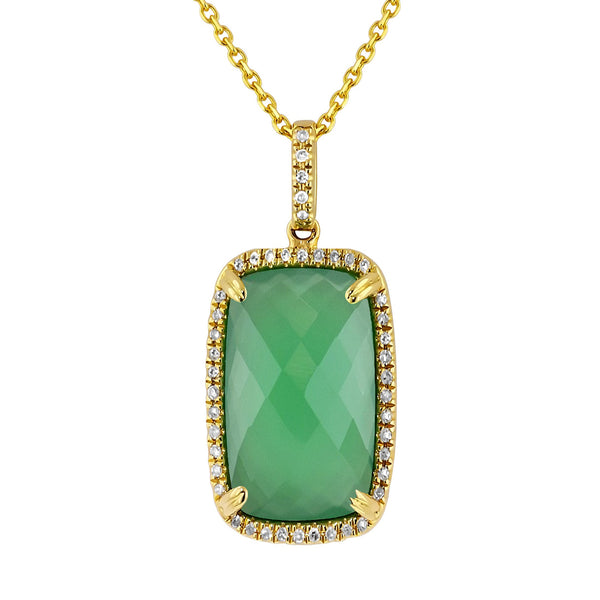 14kt Yellow Gold Green Onyx Rectangle Necklace
