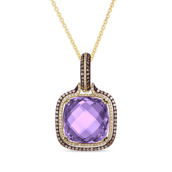 14kt Yellow Gold Purple Amethyst Diamond Necklace