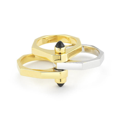 18k Gold Plate / Onyx One Finger Two Finger Ring