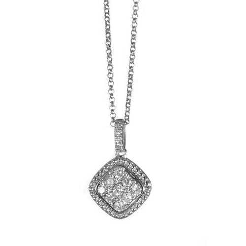 14kt White Gold Cluster Diamond Necklace