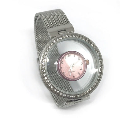 Pink- sparkle charm watch
