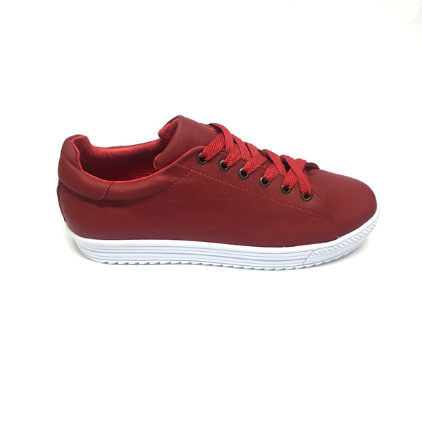 Tenis sneakers AutoMotiveShoes MAKE Rojo. Piel