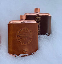 Load image into Gallery viewer, Leather Wrapped Copper Flask