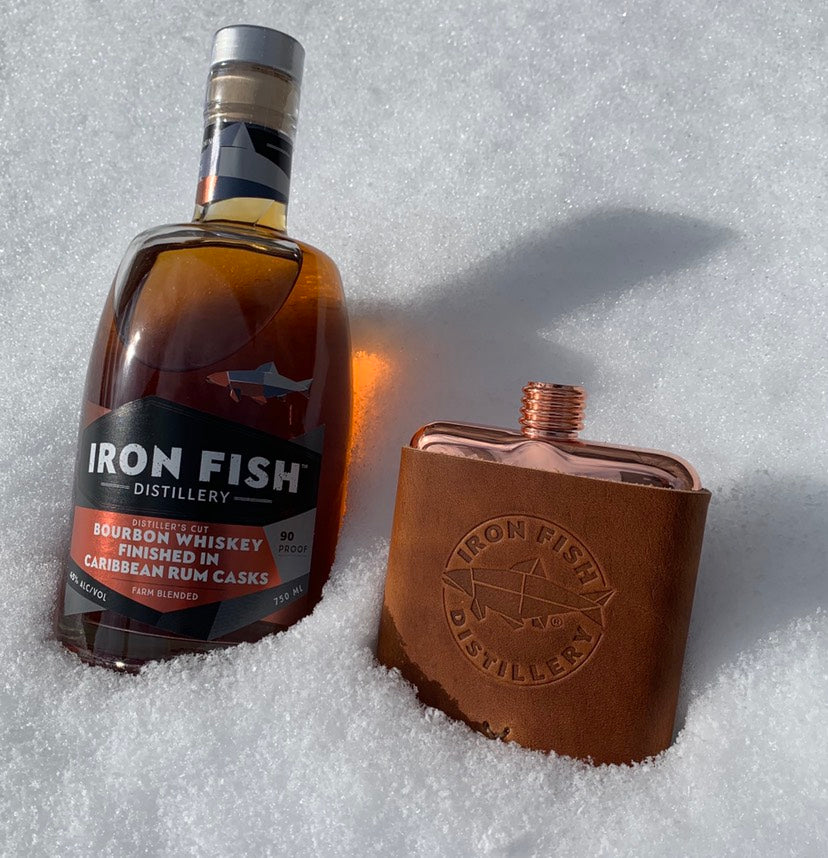 Leather Wrapped Copper Flask