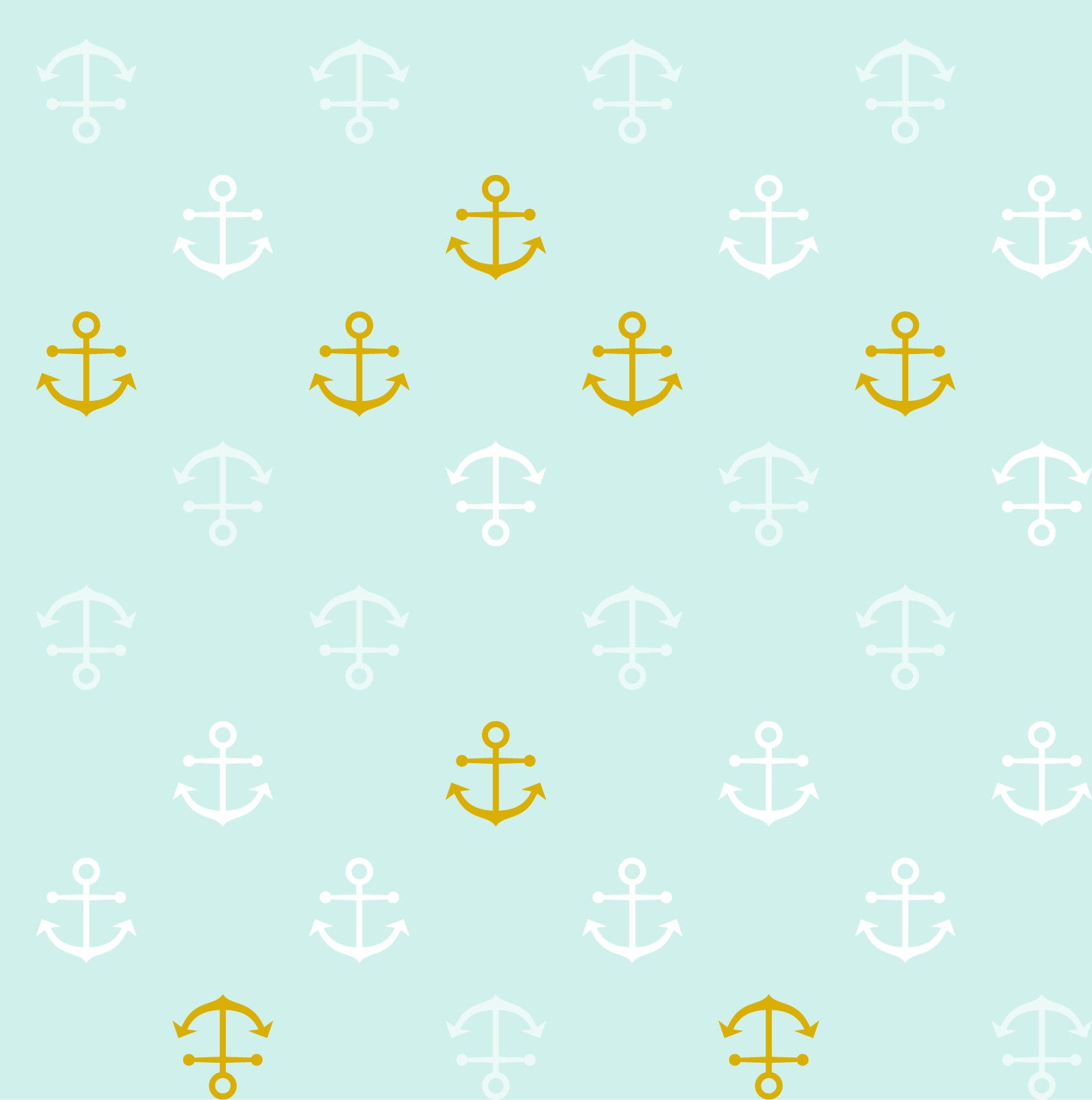 Baby Bamboo Blue Anchors with Metallic